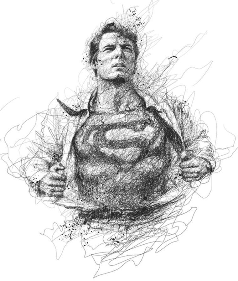 Superhelden-Kritzeleien