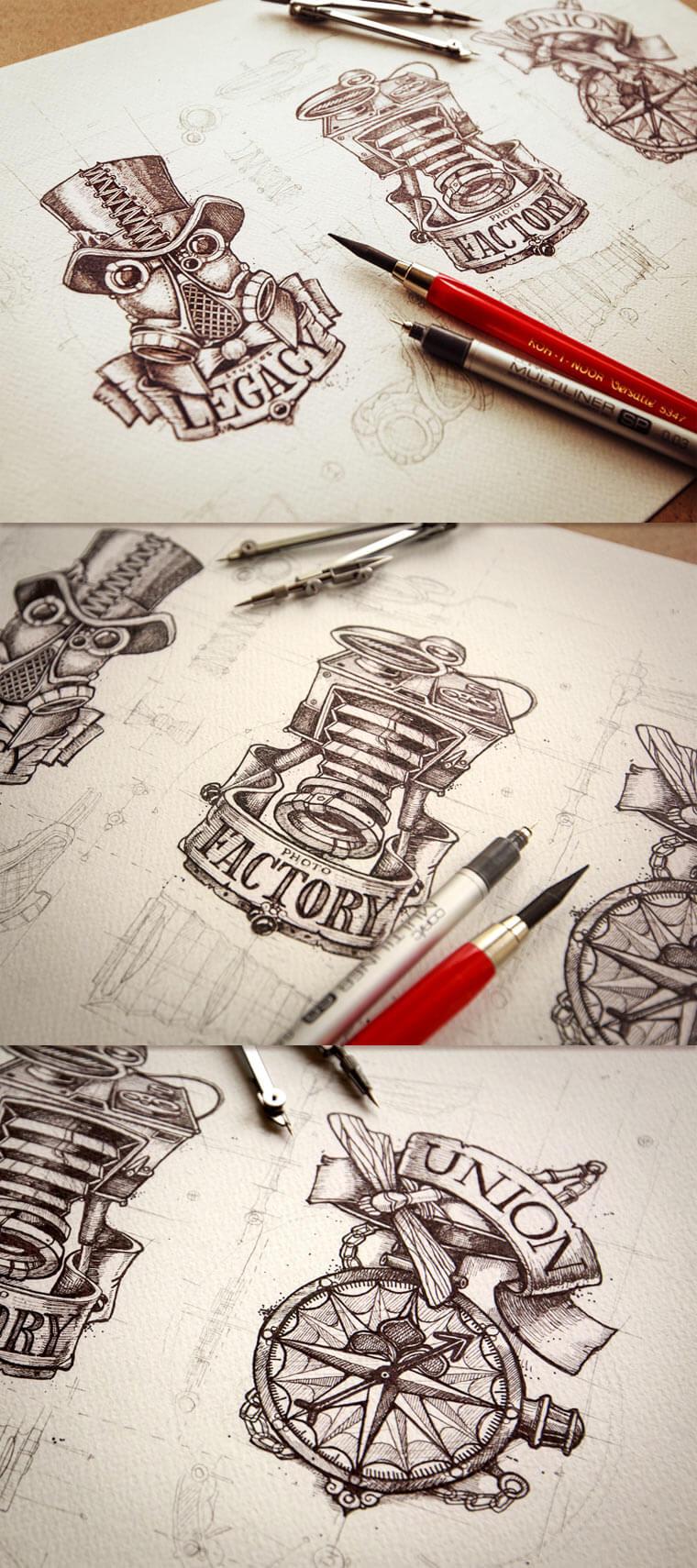 20 gezeichnete Logoskizzen logoskizzen_03