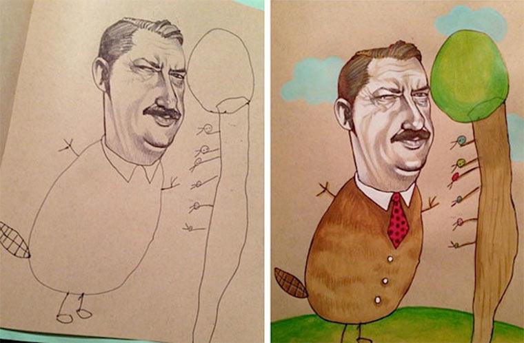 Designerin zeichnet mit 4-jähriger Tochter thebusymockingbird_01