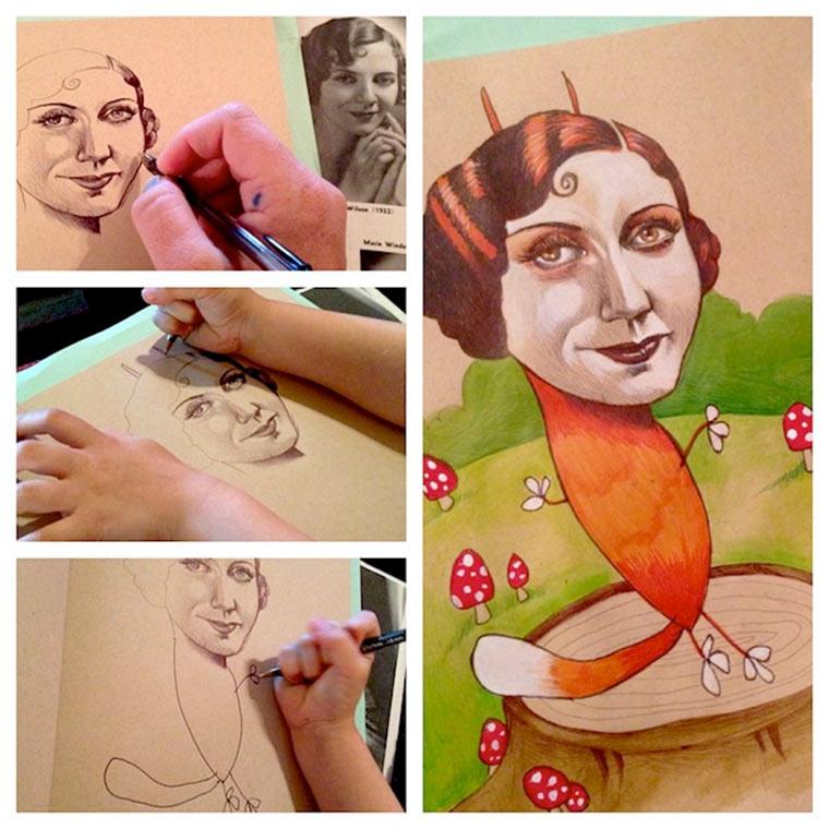 Designerin zeichnet mit 4-jähriger Tochter thebusymockingbird_02