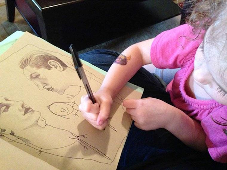 Designerin zeichnet mit 4-jähriger Tochter thebusymockingbird_05