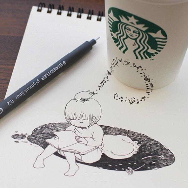 Starbucks-Zeichnungen: Tomoko Shintani tokomo_starbucks_drawings_01