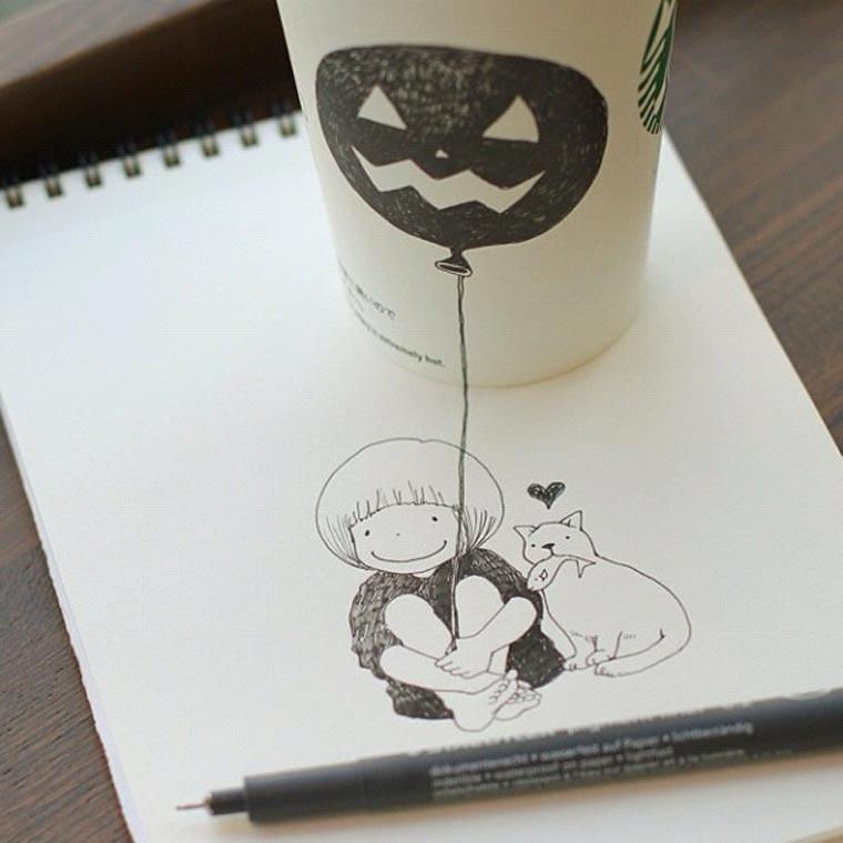 Starbucks-Zeichnungen: Tomoko Shintani tokomo_starbucks_drawings_03