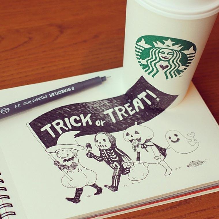 Starbucks-Zeichnungen: Tomoko Shintani tokomo_starbucks_drawings_04
