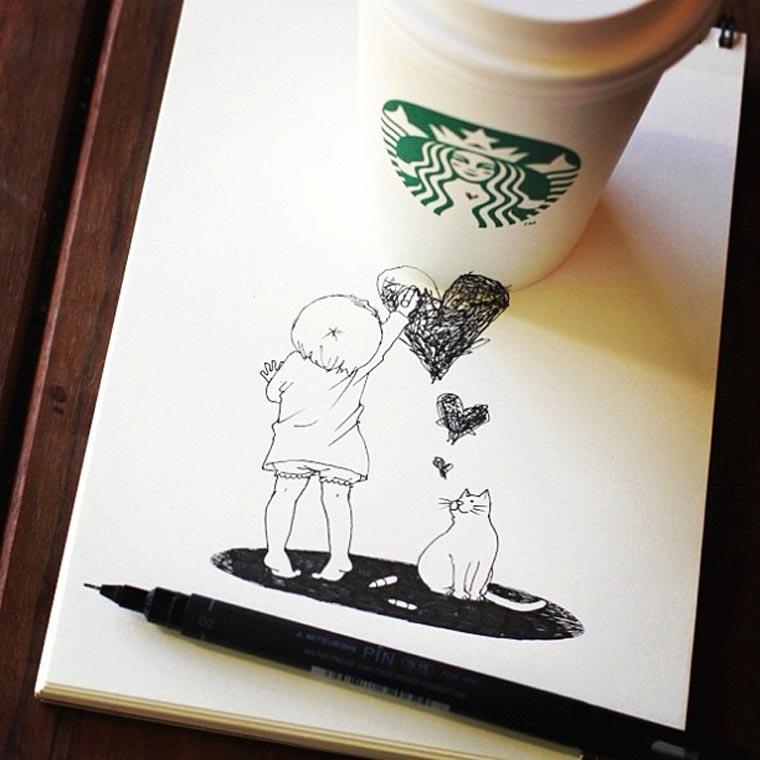 Starbucks-Zeichnungen: Tomoko Shintani tokomo_starbucks_drawings_05