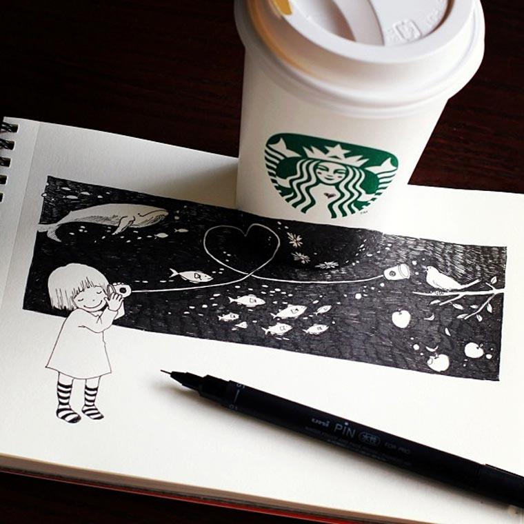 Starbucks-Zeichnungen: Tomoko Shintani tokomo_starbucks_drawings_06