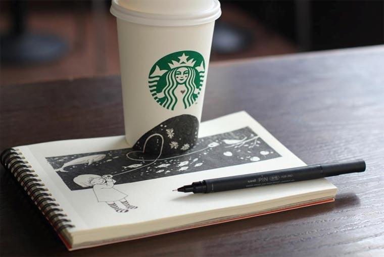 Starbucks-Zeichnungen: Tomoko Shintani tokomo_starbucks_drawings_07