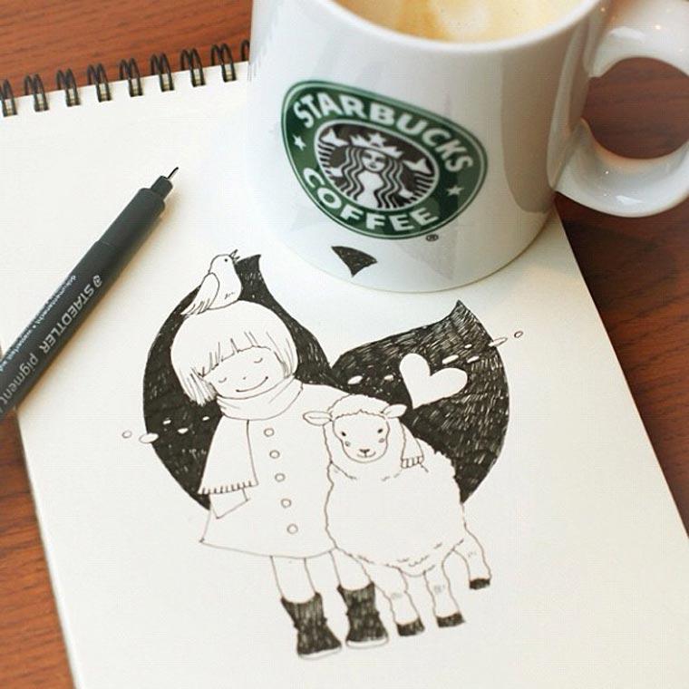 Starbucks-Zeichnungen: Tomoko Shintani tokomo_starbucks_drawings_08