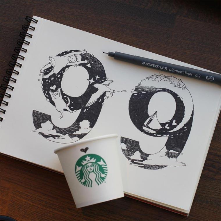 Starbucks-Zeichnungen: Tomoko Shintani tokomo_starbucks_drawings_09
