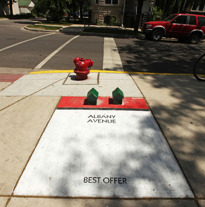 Street Art: Chicago als Monopoly-Spiel chicago_monopoly_streetart_01