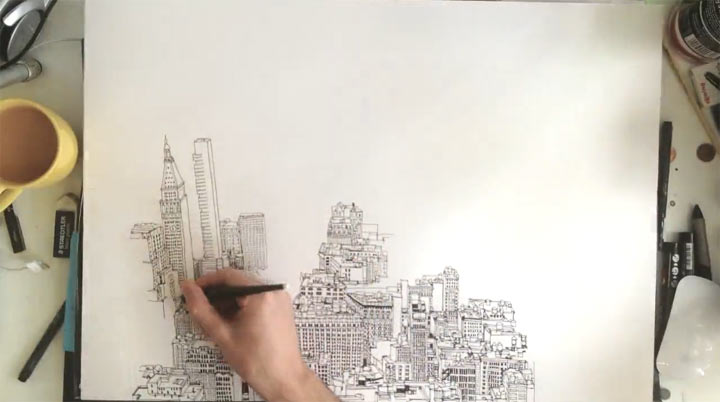 Timelapse: Gezeichnetes New York empire_state_of_pen