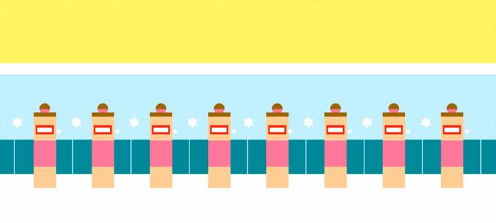 Minimalistisch animiert: Love Synchronschwimmen love_sport_synchronschwimmen