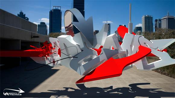 3D-Graffities mitten in der Stadt 3d-graffiti