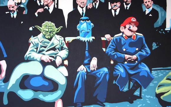 Crazy Gemälde-Schrägstrich-Popkultur-Kunst BenoitALT