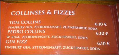 Cocktail-Auswahl Fizzes