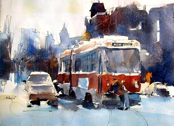 watercolor paintings by Herry Arifin