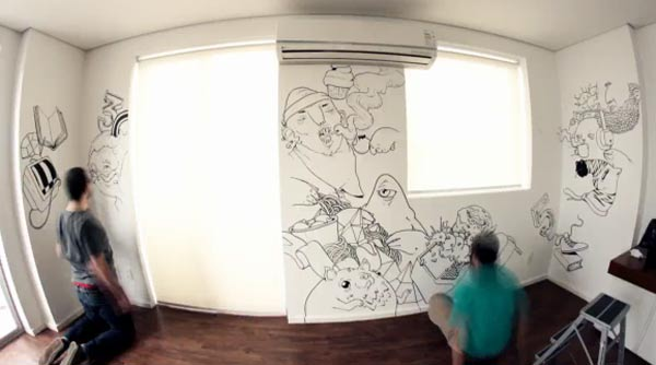 Timelapse-Wandbekritzelung On_Interactive_Wall