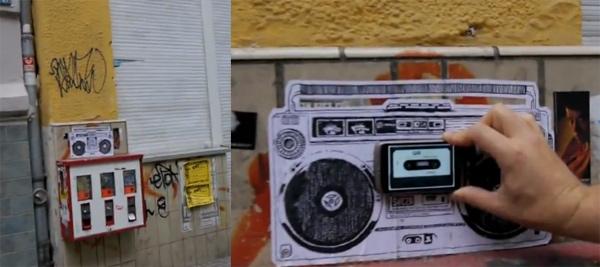 Plakatierte Boombox mit Musik QRadio