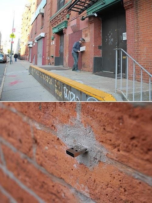 Street Art: Einzementierte USB-Ports USB_streetart