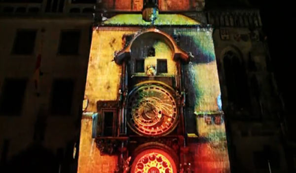3D-Projektion auf Astronomischer Uhr in Prag the600years