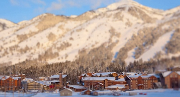 Miniatur-Ski-Gebiet tilt_shift_jackson_hole