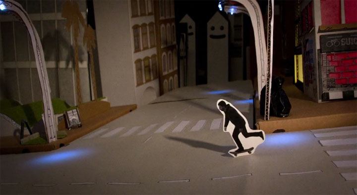 Skateboard-Papier-Stopmotion: Quadratmeterboy quadratmeterboy