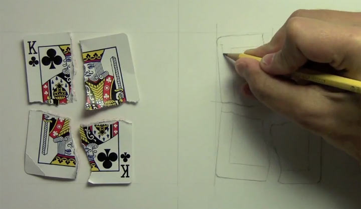 realistische Zeichnung im Zeitraffer: Zerrissene Spielkarte