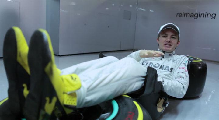 Nico Rosberg erklärt die Sitzweise im Formel1-Bolliden