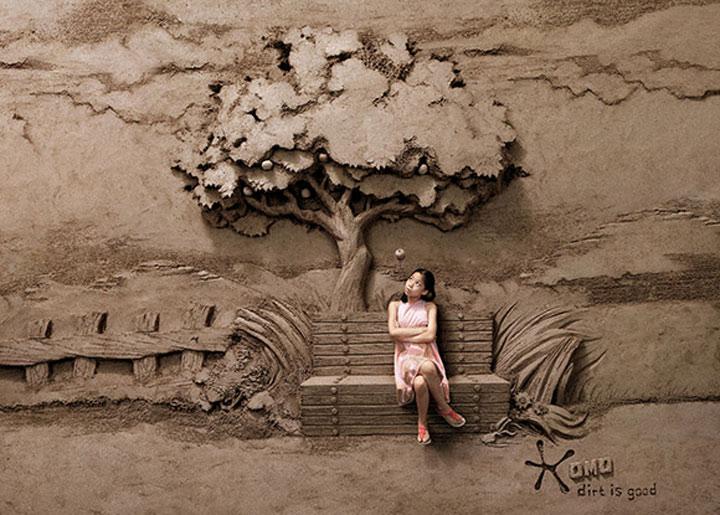 Sandskulpturgemälde-Timelapse sandskulpturentimelapse