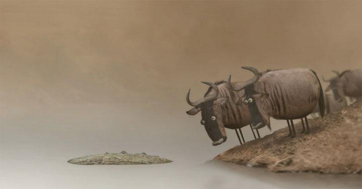 Die Gnu-Herde und die Überquerung des Flusses wildebeest