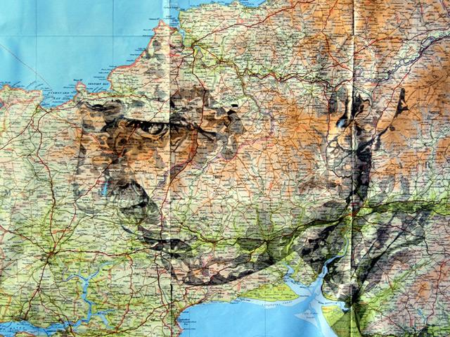 Portraits auf Landkarten gemalt maps-1