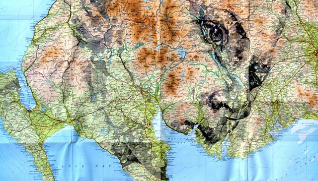 Portraits auf Landkarten gemalt maps-2