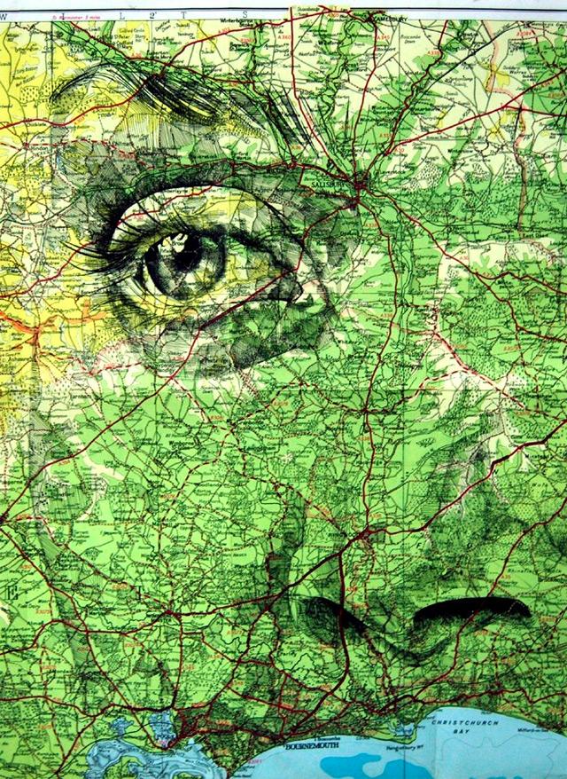 Portraits auf Landkarten gemalt maps-4