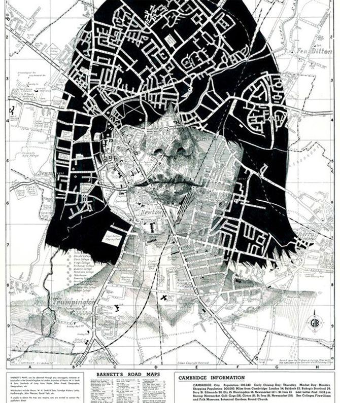 Portraits auf Landkarten gemalt maps-61