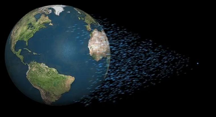 Wie das aussähe, wenn man alles Wasser der Welt in den Weltraum beamen würde