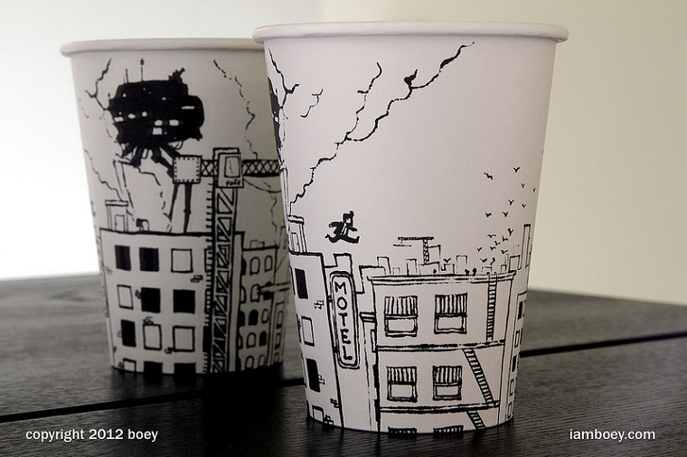 Kaffeebecherillustrationen: Cheeming Boey