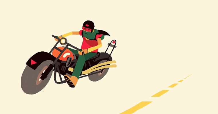 animierte Motorrad-Spritztour