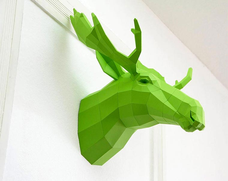 low-poly Tier-Skulpturen aus Papier paperwolf_01