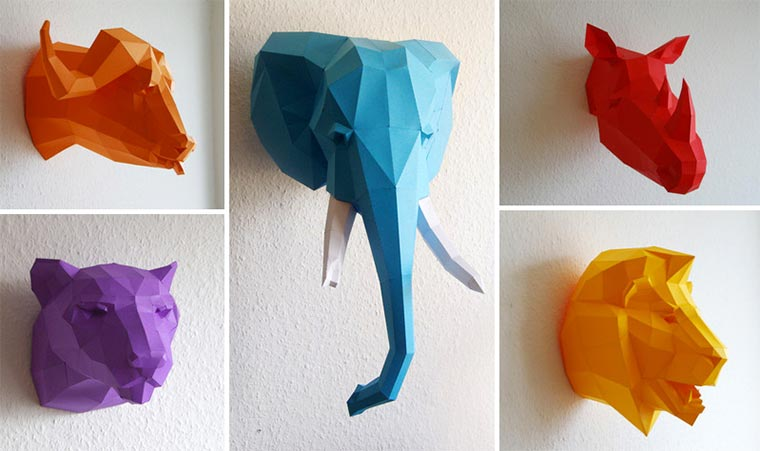 low-poly Tier-Skulpturen aus Papier paperwolf_03