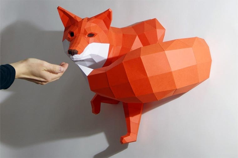 low-poly Tier-Skulpturen aus Papier paperwolf_05