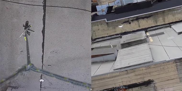Drohne birgt RC Hubschrauber drone-rc-helicopter