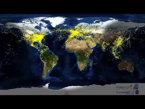 24 Stunden weltweiter Flugverkehr