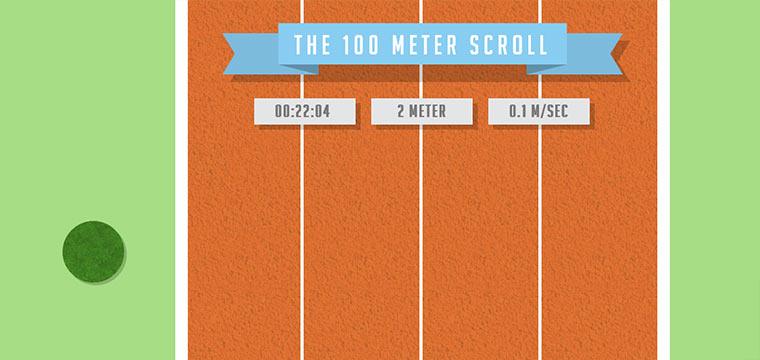 Büro-olympische Disziplin: 100m Scrollen
