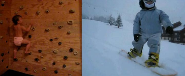 22 Monate alte Kinder klettern und snowboarden besser als du