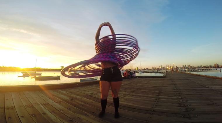 30-fache Hula Hoop-Action