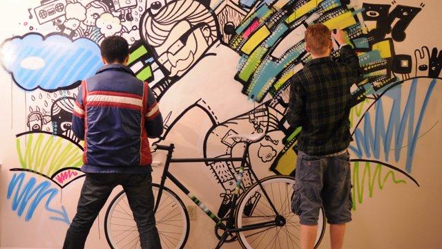 Wandmalerei-Stopmotion