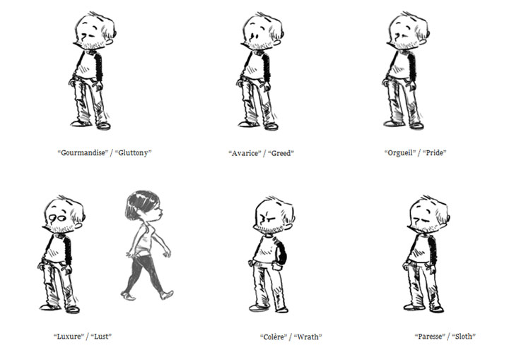 Sieben Todsünden als GIF-Animationen