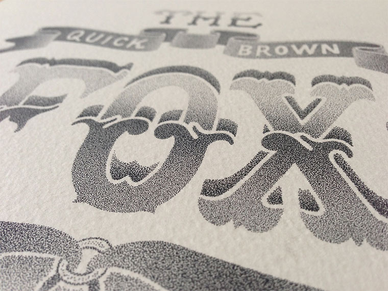 Beeindruckende Tintenpunkt-Typgrafien