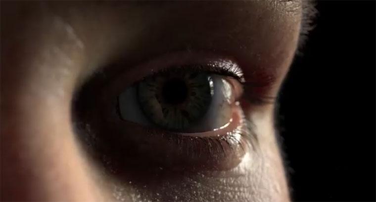 Superrealistisch animiertes menschliches Auge