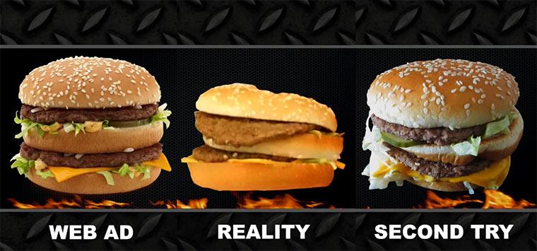 Nach Burger fragen, die wie in der Werbung aussehen